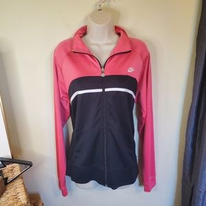 Nike Woman's Pink and Black Zip Up Track Jacket XL